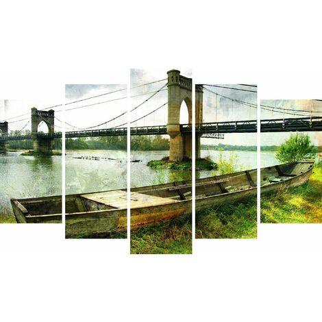 Tableau Bridge - Decoration murale, ville - 5 pieces - pour Salon, Chambre - en Bois de Pin, Polyester, 100 x 3 x 60 cm