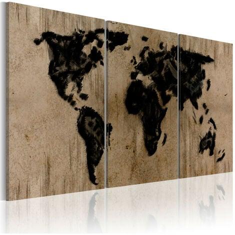 Tableau - Carte du monde en encre 120x60
