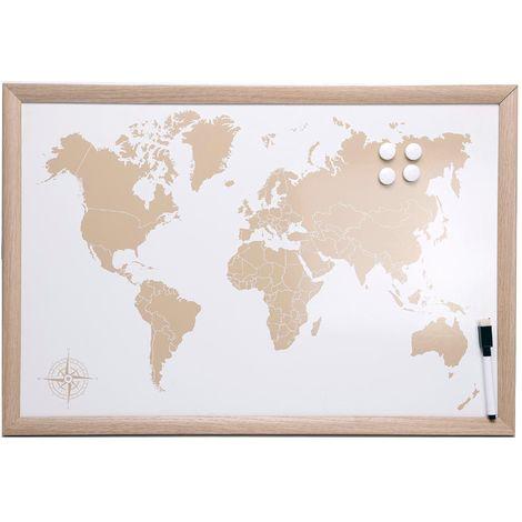 Tableau carte du monde magnétique avec feutre marqueur Naturel