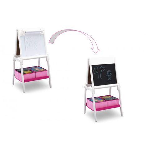 Tableau chevalet deux faces blanc avec rangements rose Signature Delta Children