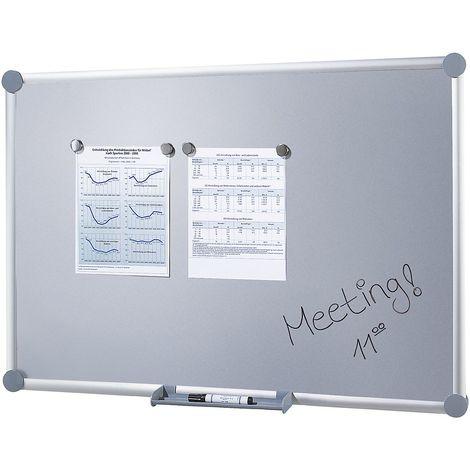 Tableau d'affichage - surface en tôle d'acier - l x h 900 x 600 mm - Coloris du tableau: argent