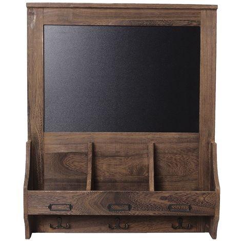 Tableau de bois tableau noir mur mémo message tableau de craie note crochet de stockage marron Sasicare