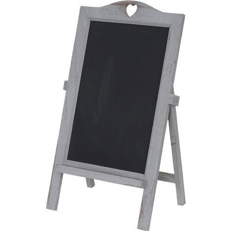 Tableau de publicité àcraie, présentoir, 66x39x33cm style shabby chic ~ gris foncé