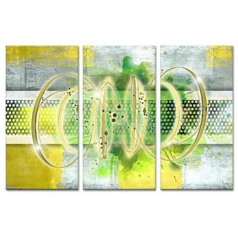Tableau Deco Triptyque Abstrait Deco Ruche - 120x80 cm