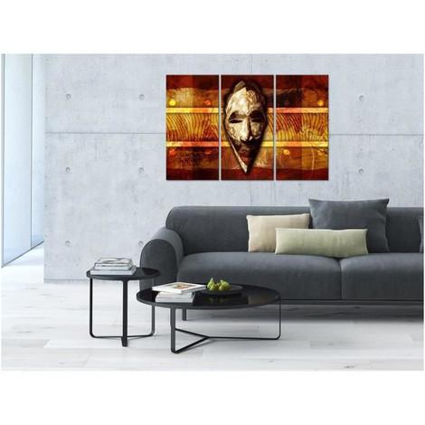 tableau deco triptyque deco masque ethnique - 120x80 cm
