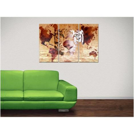 Tableau Deco Triptyque Tigre Et Carte Du Monde 120x80 Cm