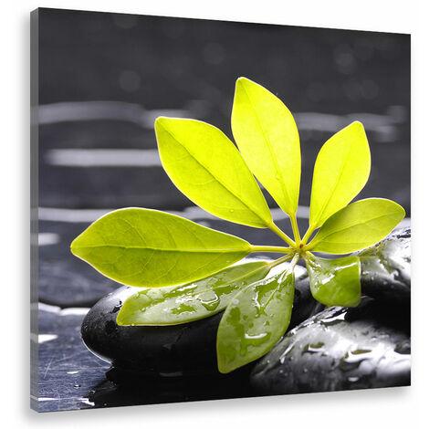 Tableau deco zen feuille et galets noirs - 50x50 cm