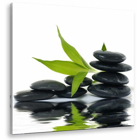 Tableau deco zen galets noirs de tahiti - 50x50 cm