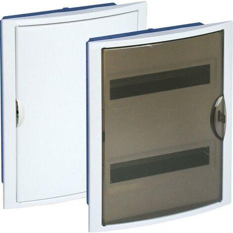 Tableau électrique encastrable Pladur 28 éléments cadre blanc et porte fumée SOLERA 5250PFHGW