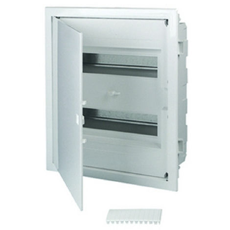 Tableau électrique encastré 24 modules 2 rangées avec porte pleine couleur blanc