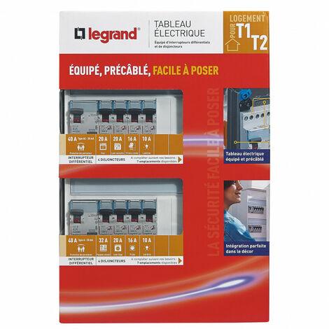 Tableau électrique équipé spécial pour logement T1 ou T2 (093055)