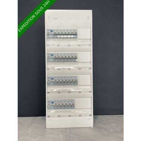 Tableau électrique hager 4 rangée équipé et pré-câblé 27 disjoncteurs