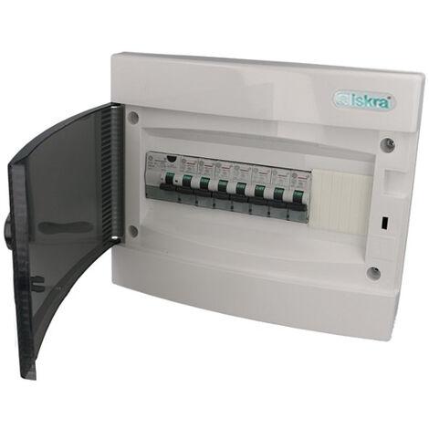 Tableau électrique, montage encastré, 7 disjoncteurs + 1 ID