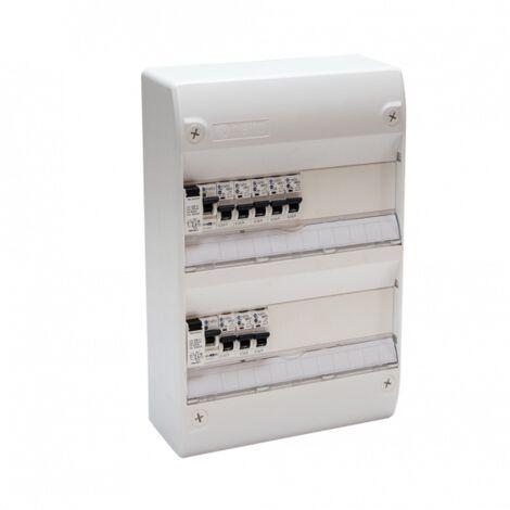 Tableau Électrique Pré Câblé 2 rangées 2 ID + 8 Disjoncteurs NF NALTO