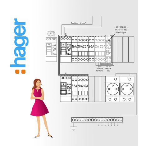 Tableau electrique Pré Cablé Hager jusqu'a 35 m2 (T1 / T1bis)