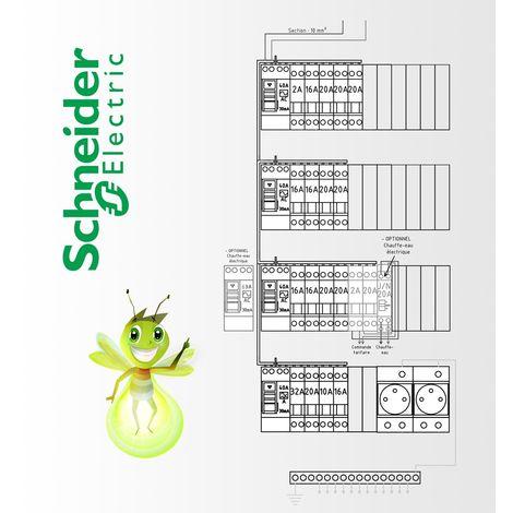 Tableau electrique Pré Cablé Schneider Electric surface supérieur a 100 m2 (T6 et plus)