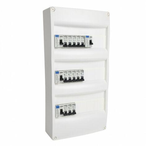 Tableau électrique pré équipé 3 rangées 39 modules 4ID + 13 disjoncteurs NALTO