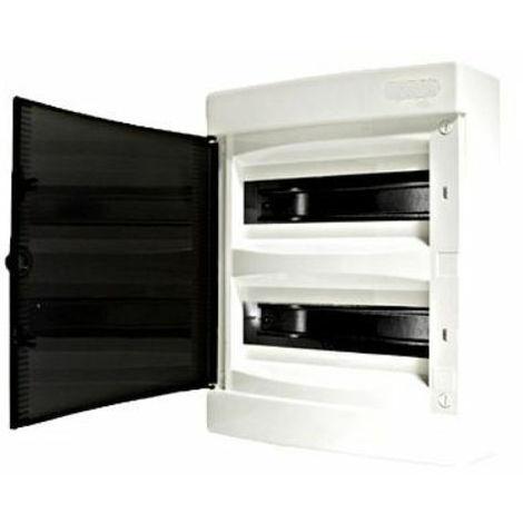 Tableau électrique saillie 24 modules 2 rangées avec porte translucide teintée