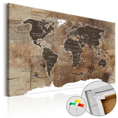 Tableau en liège - Wooden Mosaic [Cork Map] 120x80