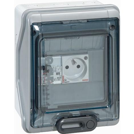 Tableau étanche pré-équipé - 1 disjoncteur diff + 1 prise de courant