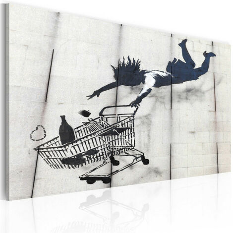 Tableau - Femme tombe avec un chariot de supermarché (Banksy)