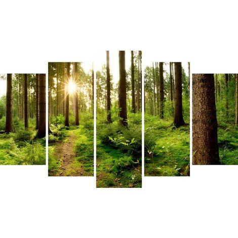 Tableau Forest 2 - Decoration murale, nature et paysages - 5 pieces - pour Salon, Chambre - en Bois de Pin, Polyester, 100 x 3 x 60 cm