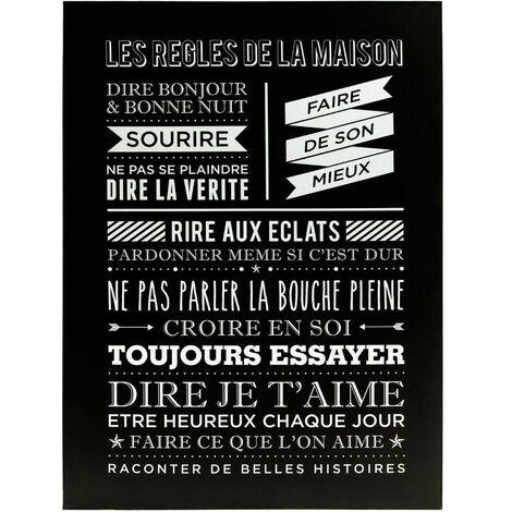 Tableau les r gles de la maison city noir atmosphera 150618b - Cadre les regles de la maison ...