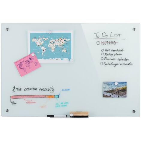 Tableau magnétique en verre, inscriptible, rangement, anti-rayures, Panneau d'affichage 60x90 cm, blanc
