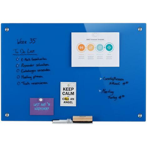 Tableau magnétique en verre, inscriptible, rangement, anti-rayures, Panneau d'affichage 60x90 cm, bleu