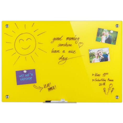 Tableau magnétique en verre, inscriptible, rangement, anti-rayures, Panneau d'affichage 60x90 cm, jaune