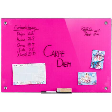 Tableau magnétique en verre, inscriptible, rangement, anti-rayures, Panneau d'affichage 60x90 cm, rose
