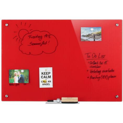 Tableau magnétique en verre, inscriptible, rangement, anti-rayures, Panneau d'affichage 60x90 cm, rouge