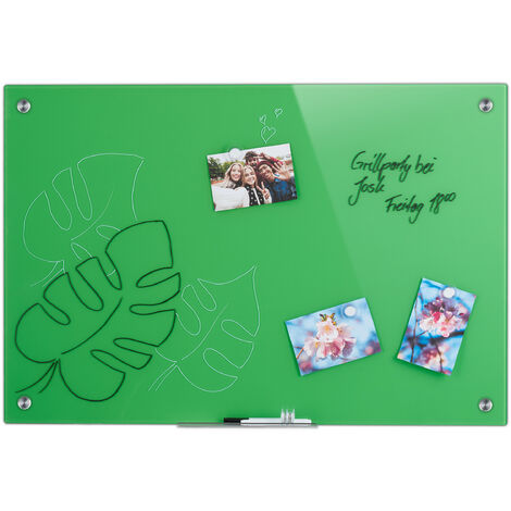 Tableau magnétique en verre, inscriptible, rangement, anti-rayures, Panneau d'affichage 60x90 cm, vert