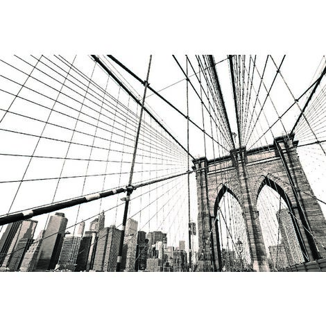 Tableau Manhattan II - Villes et paysages - pour Salon, Chambre - Multicolore en Bois, coton, 60 x 120 x 3 cm