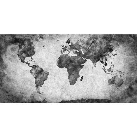 Tableau Map III - Plan - pour Salon, Chambre -Multicolore en Bois, coton, 70 x 140 x 3 cm