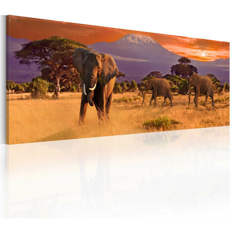 Tableau - March of african elephants 120x40