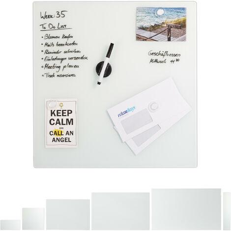 Tableau mémo magnétique, Verre Protecteur, Panneau Pense-bête, 3 aimants, diff. tailles, blanc