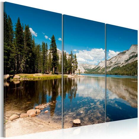 Tableau - Montagnes et lac cristallin 120x80