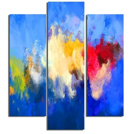 Tableau Nuages - 3 Pieces - Abstract - from Living Room, Room - Multicouleur en MDF, 57 x 0,3 x 60 cm