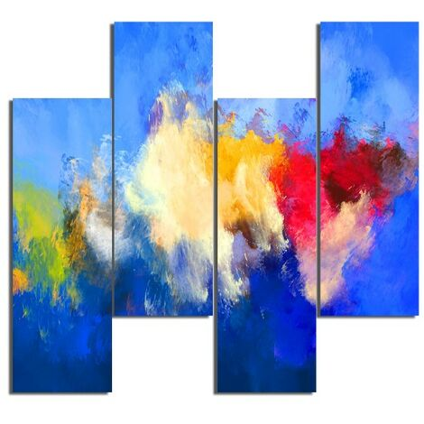 Tableau Nuages - 4 Pieces - Abstract - from Living Room, Room - Multicouleur en MDF, 76 x 0,3 x 50 cm