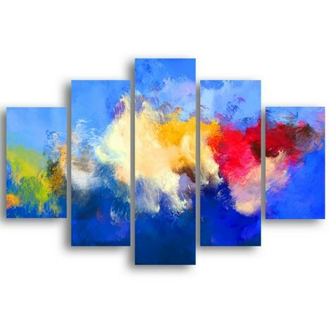Tableau Nuages - 5 Pieces - Abstract - for Living Room, Room - Multicouleur en MDF, 95 x 0,3 x 60 cm