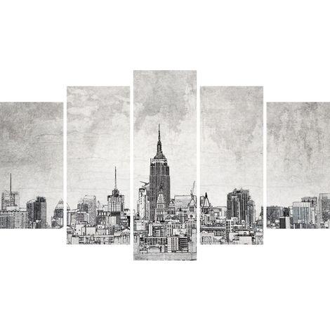 Tableau NY 2 - Decoration murale, ville - 5 pieces - pour Salon, Chambre - en Bois de Pin, Polyester, 100 x 3 x 60 cm