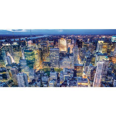 Tableau NY - Villes et paysages - pour Salon, Chambre - Multicolore en Bois, coton, 60 x 120 x 3 cm