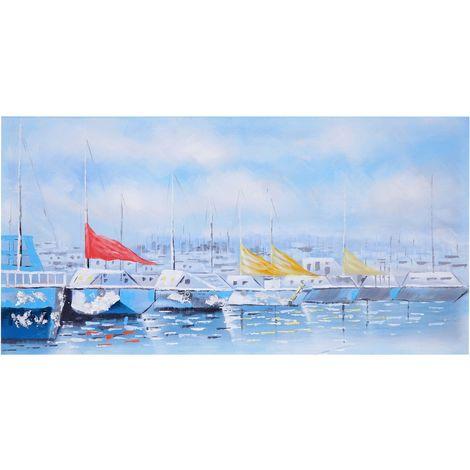 Tableau peinture à huile, bateaux, peint à la main à 100%, toile de décoration murale XL ~ 140x70cm