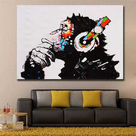 Tableau Peinture à Huile Gorille en Toile Moderne Art Pour Décor Murale