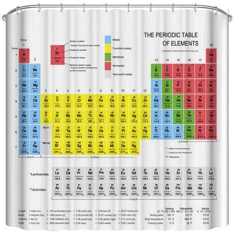 Tableau périodique rideau de douche, enfants enfants éducation science chimie pour les élèves des écoles enseignants art, décor de salle de bain en polyester avec 12 crochets 180 x 180 cm