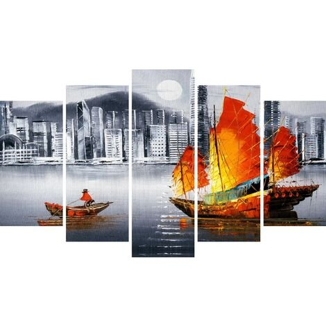 Tableau Port 4 - Decoration murale, ville et paysage - 5 pieces - pour Salon, Chambre - en Bois de Pin, Polyester, 100 x 3 x 60 cm