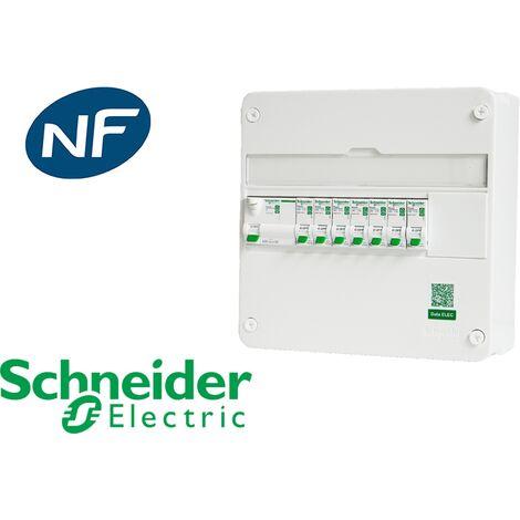 Tableau précâblé 7 disj + 1 ID Schneider Resi9 XE embrochable