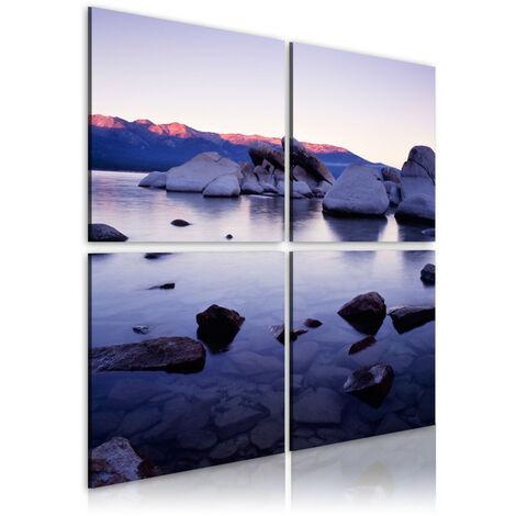 Tableau - Rivage rocheux de lac alpin 80x80