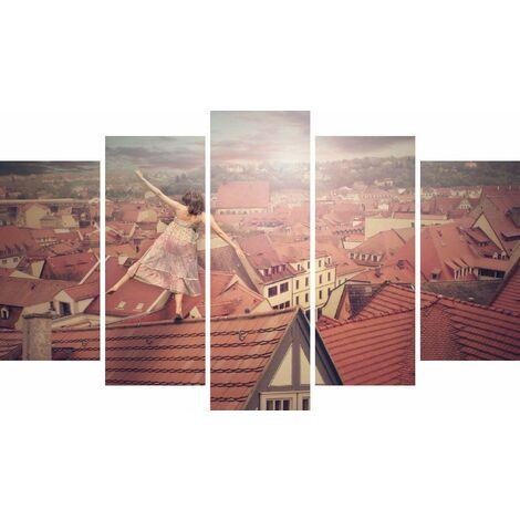 Tableau Roofs - Decoration murale, ville - 5 pieces - pour Salon, Chambre - en Bois de Pin, Polyester, 100 x 3 x 60 cm